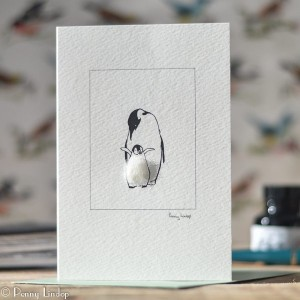 Mother Penguin & Chick Card