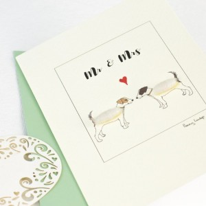Jack Russell terrier card for a couple,