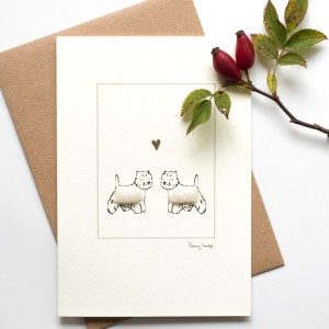 Greeting card - westies with heart