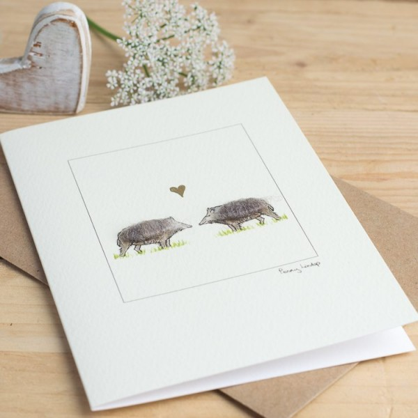 Boars & Heart Card
