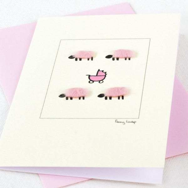 New baby card with woolly sheep and pram